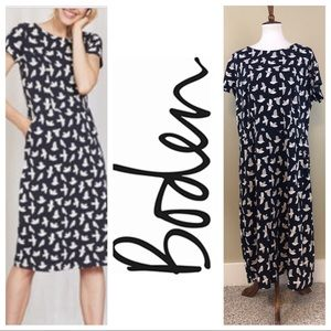 BODEN NAVY BIRD POCKET DRESS